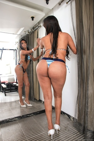Seductive brunette in blue bikini teases her curves by the mirror. - XXXonXXX - Pic 7