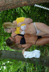 Outdoors stripping with two socks-wearing schoolgirls