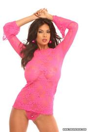 beautiful woman pink long