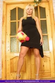 blonde milf teases alluring