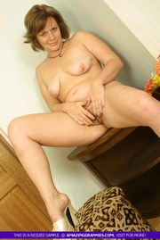 naked granny teases with