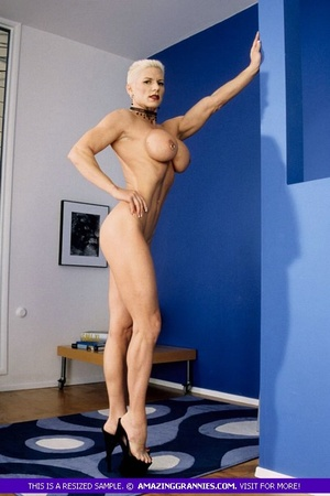 Muscular granny pose naked and reveals her big round tits and luscious pussy in different poses wearing her black high heels. - XXXonXXX - Pic 8