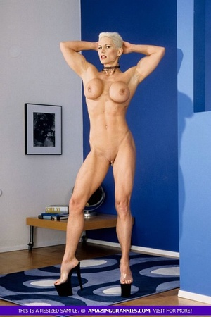 Muscular granny pose naked and reveals her big round tits and luscious pussy in different poses wearing her black high heels. - XXXonXXX - Pic 11