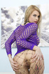 Blondie in fishnet catsuit rides two rods at the same time