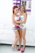 Ginger and blonde babes in shorts kiss while riding dicks
