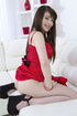 Blue-eyed brunette in a red dress getting spit-roasted