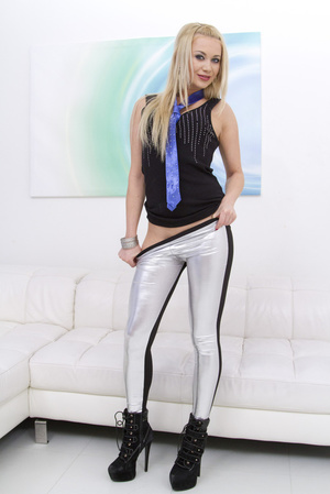 Leggy blonde in tights licks a huge dildo before fucking - XXXonXXX - Pic 3