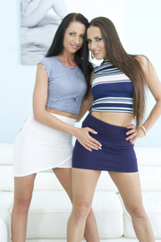 two babes tight skirts
