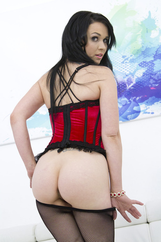 thick brunette red corset