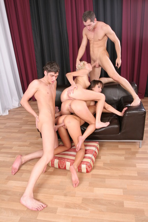Blonde and two brunettes have fun with two horny men by the curtains. - XXXonXXX - Pic 16