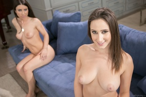 Busty brunettes duo kissing on the blue couch and licking their wet coochies - XXXonXXX - Pic 2