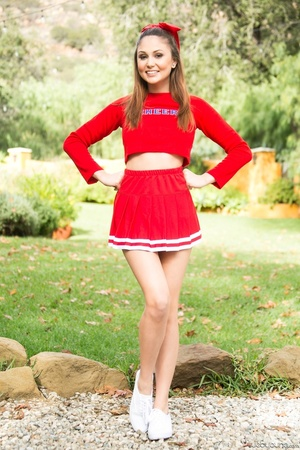 Three sexy teens in red cheerleader uniform and no panty teasing outdoors and flashing their naked goods - XXXonXXX - Pic 1