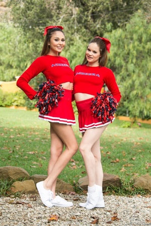 Three sexy teens in red cheerleader uniform and no panty teasing outdoors and flashing their naked goods - XXXonXXX - Pic 5