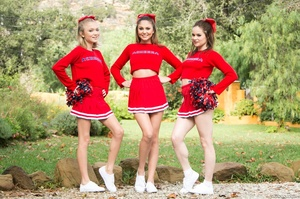 Three sexy teens in red cheerleader uniform and no panty teasing outdoors and flashing their naked goods - XXXonXXX - Pic 7