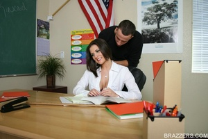 Nasty professor wearing short skirt is getting seduced by a student with big cock - XXXonXXX - Pic 6