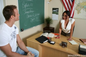Nasty brunette, wearing short skirt and unbuttoned white shirt fuck horny student - XXXonXXX - Pic 4