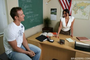 Nasty brunette, wearing short skirt and unbuttoned white shirt fuck horny student - XXXonXXX - Pic 5