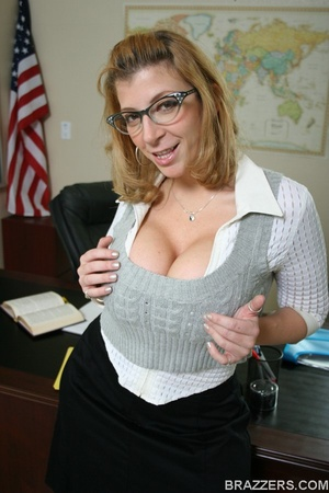 Sexy professor with big tits wearing tight shirt and sexy glasses punishes a student bu fucking him hard - XXXonXXX - Pic 2