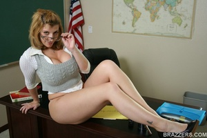 Sexy professor with big tits wearing tight shirt and sexy glasses punishes a student bu fucking him hard - XXXonXXX - Pic 3