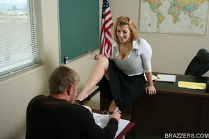 Sexy professor with big tits wearing tight shirt and sexy glasses punishes a student bu fucking him hard - XXXonXXX - Pic 7