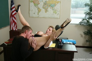 Sexy professor with big tits wearing tight shirt and sexy glasses punishes a student bu fucking him hard - XXXonXXX - Pic 9