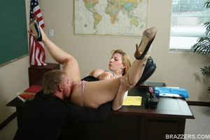Sexy professor with big tits wearing tight shirt and sexy glasses punishes a student bu fucking him hard - XXXonXXX - Pic 10