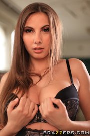 elegant brunette wearing black