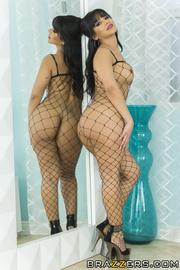 fishnet bodysuit brunette latina