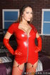 Brunette in a red latex outfit gets her anal hole fucked