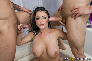 Blue-eyed brunette changes outfits and enjoys anal pounding - XXXonXXX - Pic 16
