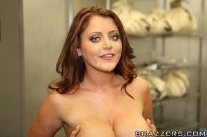 Blue-eyed redhead with massive tits gets fucked in the vault - XXXonXXX - Pic 16