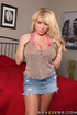 Denim skirt blonde with giant tits gets fucked on a bed