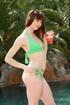 slender redhead bikini strips