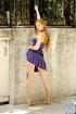 seductive blonde wearing purple