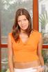 wonderful brunette orange top