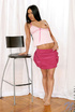 Skilled brunette in white thong and dark pink skirt embraces her hotness