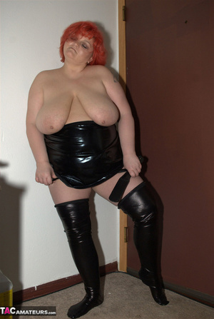 Big breasted BBW with nice red hair exposes her unshaved pussy - XXXonXXX - Pic 9