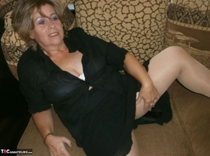 Voluptuous blonde MILF shows her large tits to the cam and poses in nylon pantyhose - XXXonXXX - Pic 4