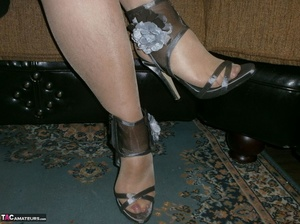 Voluptuous blonde MILF shows her large tits to the cam and poses in nylon pantyhose - XXXonXXX - Pic 20