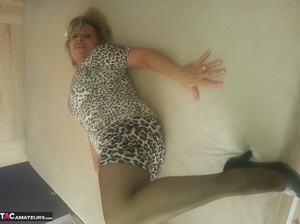 Beautiful blonde milf is posing in sexy dress and nylon stockings - XXXonXXX - Pic 5