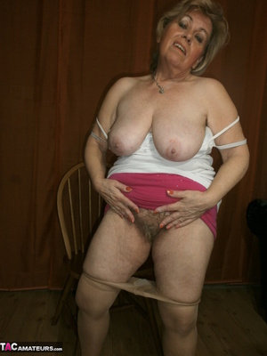 Stunning blonde cougar is playing with her saggy tits and hairy twat - XXXonXXX - Pic 15