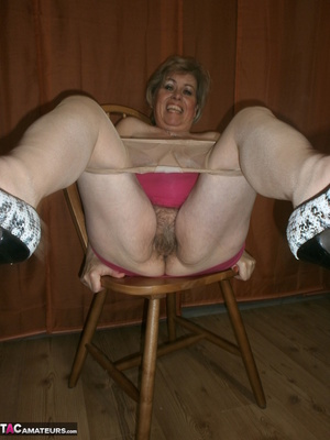 Stunning blonde cougar is playing with her saggy tits and hairy twat - XXXonXXX - Pic 16