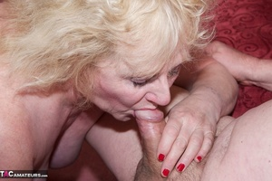 Mature blonde bitch is wearing sexy black nylons while having a cock in her mouth - XXXonXXX - Pic 4