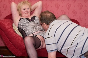 Mature blonde bitch is wearing sexy black nylons while having a cock in her mouth - XXXonXXX - Pic 10