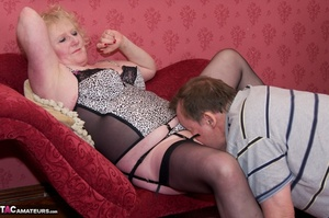 Mature blonde bitch is wearing sexy black nylons while having a cock in her mouth - XXXonXXX - Pic 12