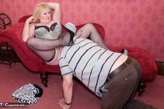 mature blonde bitch wearing