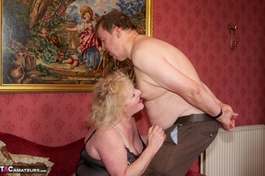 Mature blonde bitch is wearing sexy black nylons while having a cock in her mouth - XXXonXXX - Pic 15
