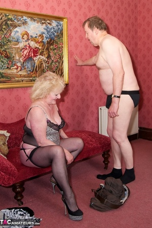 Mature blonde bitch is wearing sexy black nylons while having a cock in her mouth - XXXonXXX - Pic 17