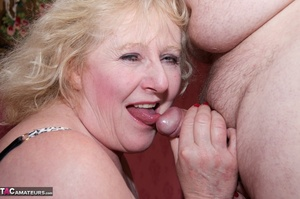 Mature blonde bitch is wearing sexy black nylons while having a cock in her mouth - XXXonXXX - Pic 20