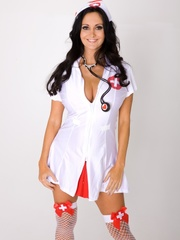 Long-haired nurse shows the red bra and panty set - XXXonXXX - Pic 1